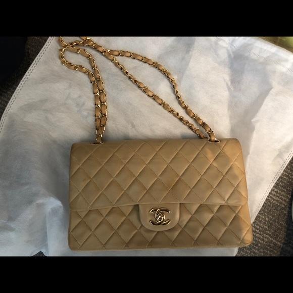 87aa94463b1669 CHANEL Handbags - Chanel beige double chain/flap lambskin bag